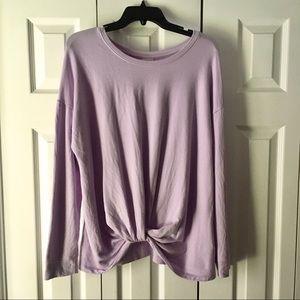 A NEW DAY Purple Sweatshirt Front Twist Knot